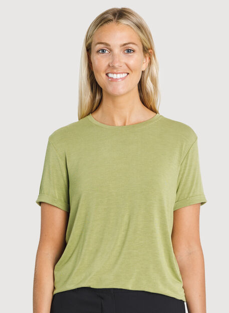 Kit Tech Jersey Crew Tee Relaxed Fit, HTHR Sweet Grass | Kit and Ace
