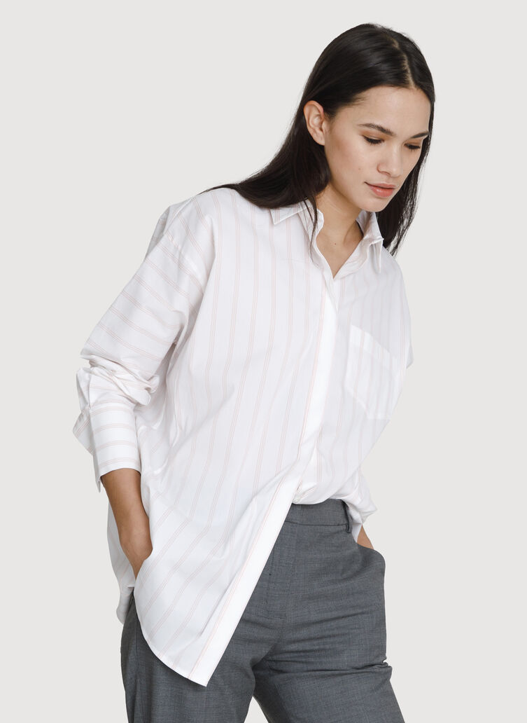 Boyfriend Blouse, BRIGHT WHITE/ROSEBUD STRIPE | Kit and Ace