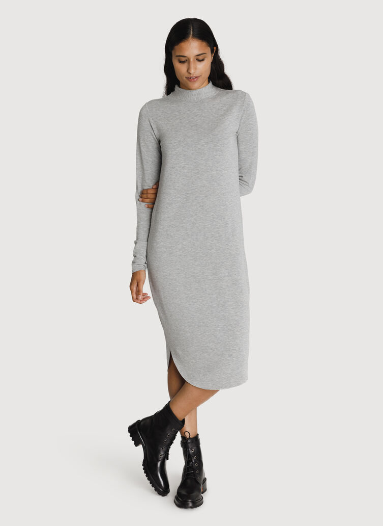 Mock Neck Brushed Dress, HTHR Charcoal Grey | Kit and Ace