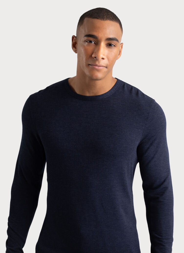 Raw Brushed Long Sleeve Crew Neck, HTHR DK Navy | Kit and Ace
