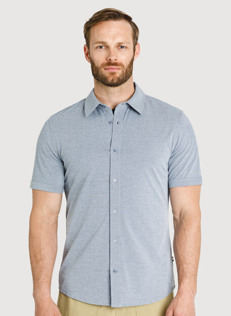 City Tech Short Sleeve Shirt, DK Navy Chambray | Kit and Ace