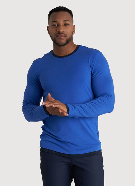Ace Reversible Long Sleeve Tee, Ocean/Dark Navy | Kit and Ace