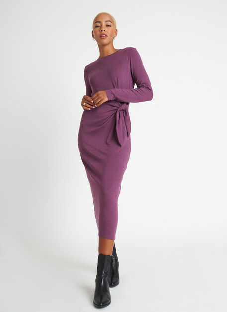 Brushed Tie Dress Long Sleeve, Heather Plum | Kit and Ace