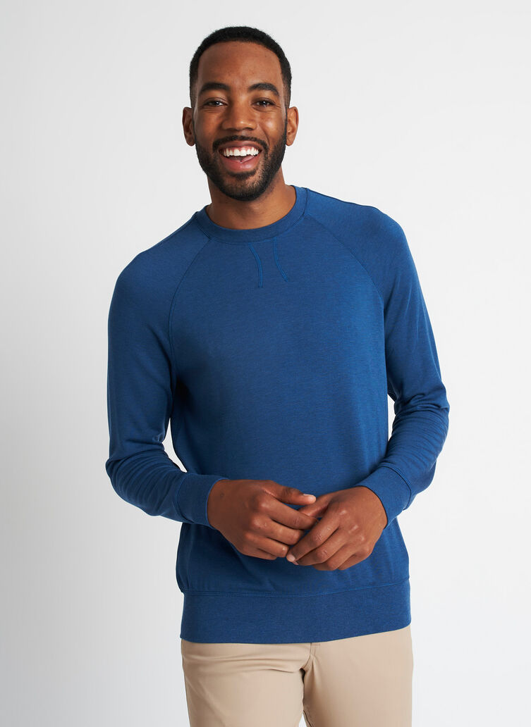 Chillin Brushed Pullover, Heather Night Blue | Kit and Ace