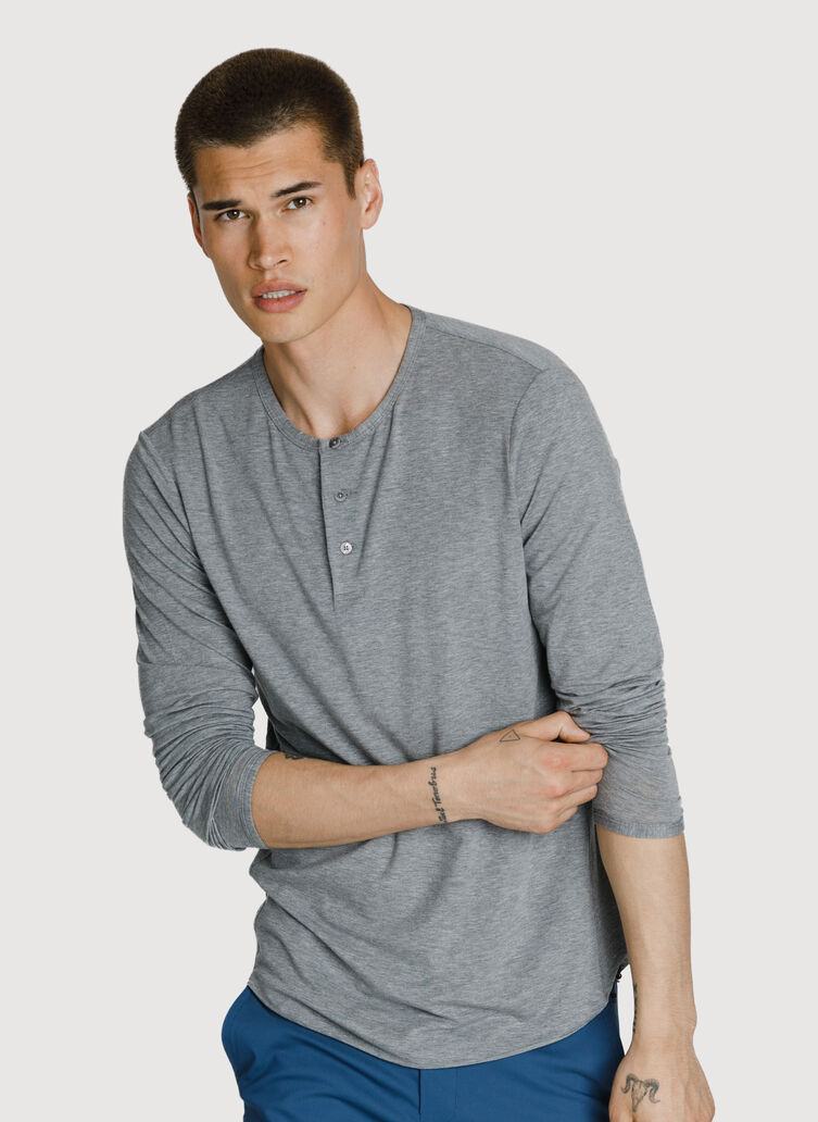 Cali Long Sleeve Henley, HTHR GREY | Kit and Ace