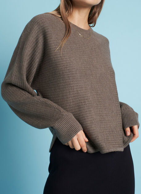 In the Clouds Merino Sweater, Heather Taupe | Kit and Ace