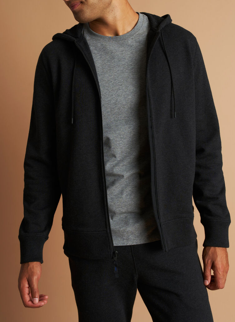 West Coast Zip Up Hoodie, Heather Black | Kit and Ace