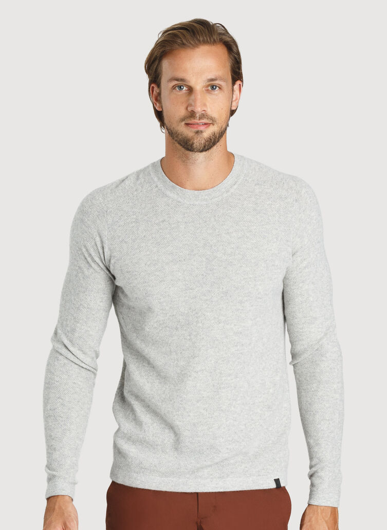 Cashmere Crew Sweater, HTHR Granite   Kit and Ace
