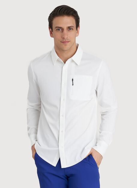 Geared Up Long Sleeve Shirt, Bright White | Kit and Ace