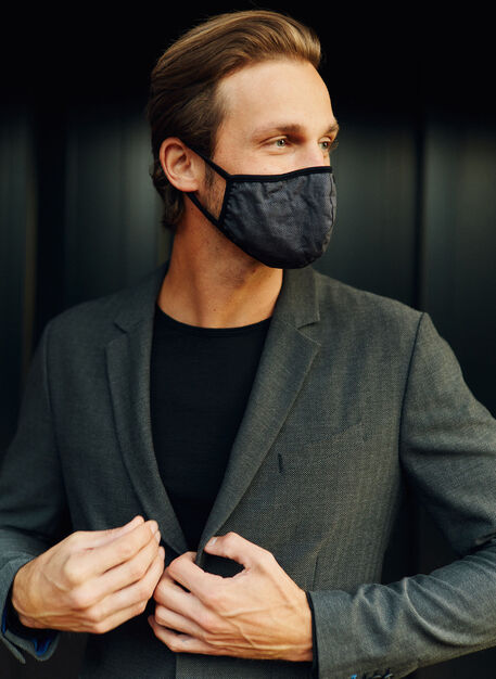 Go Anywhere Mask, HERRINGBONE Black/Charcoal | Kit and Ace