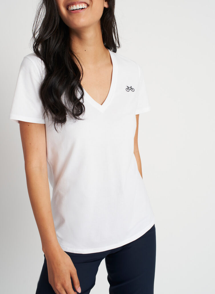 Movement V-Neck Tee, Bright White | Kit and Ace