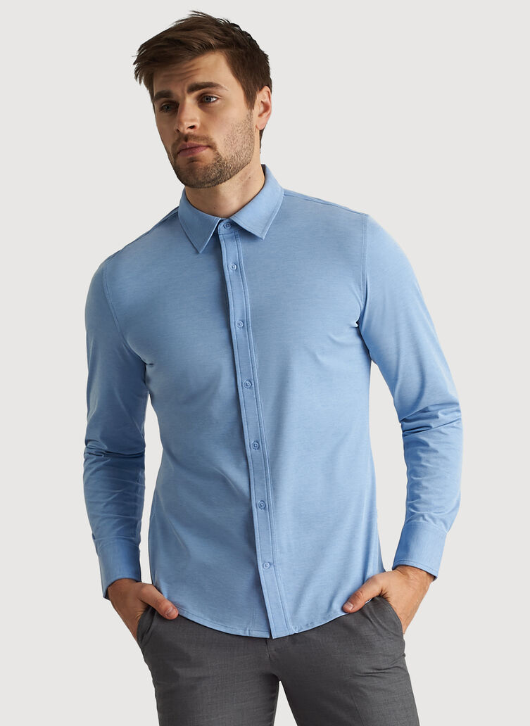 City Tech Long Sleeve Shirt, Iconic Blue Chambray | Kit and Ace