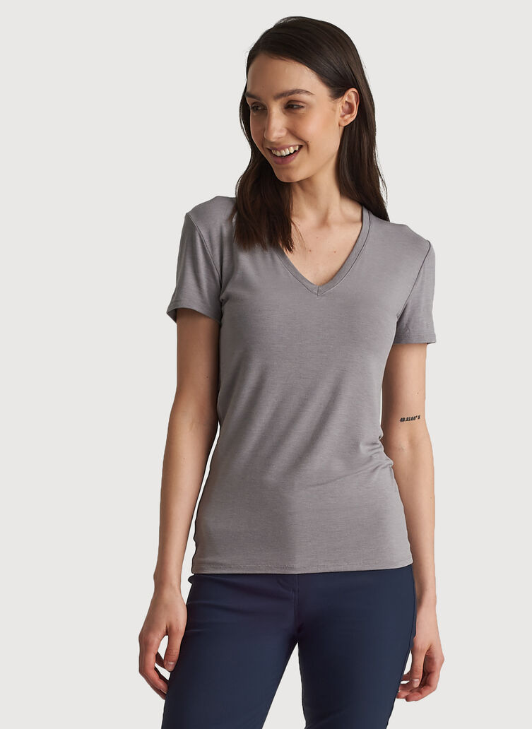 Kit Tech Jersey V-Neck Tee Slim Fit, Heather Light Grey | Kit and Ace