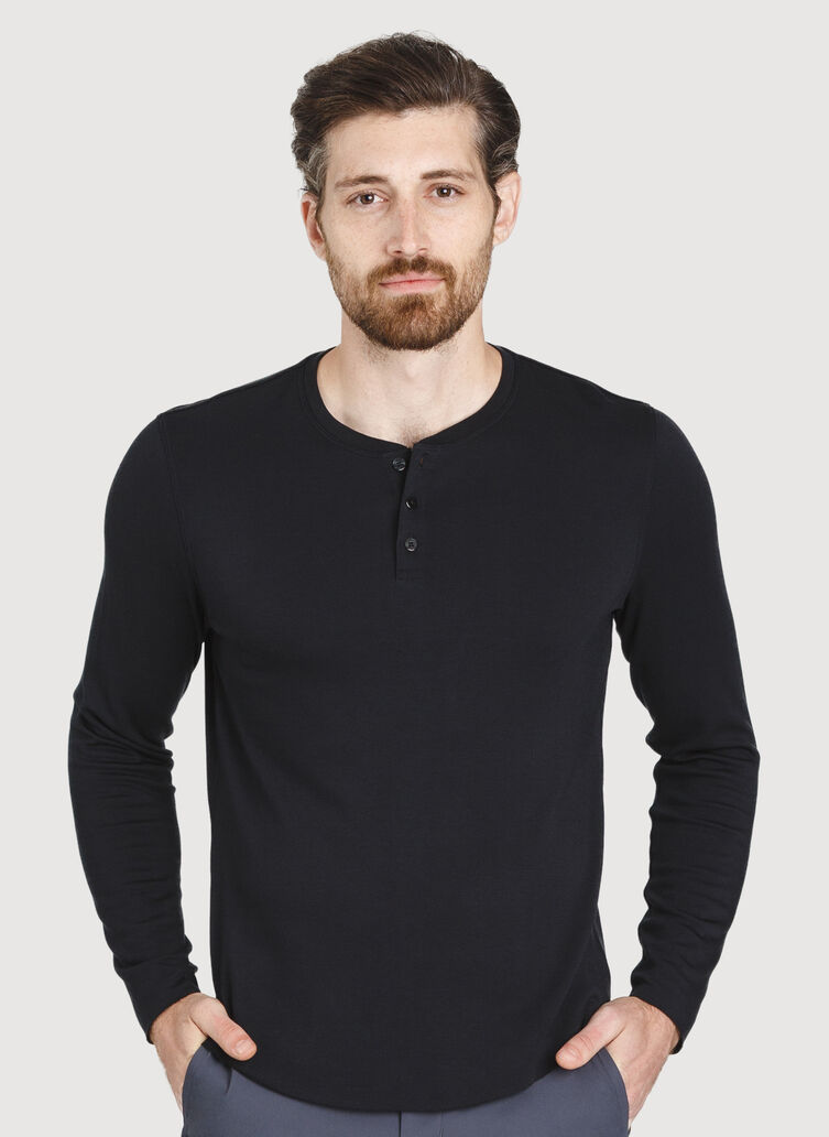 The B.F.T. Long Sleeve Henley, BLACK | Kit and Ace