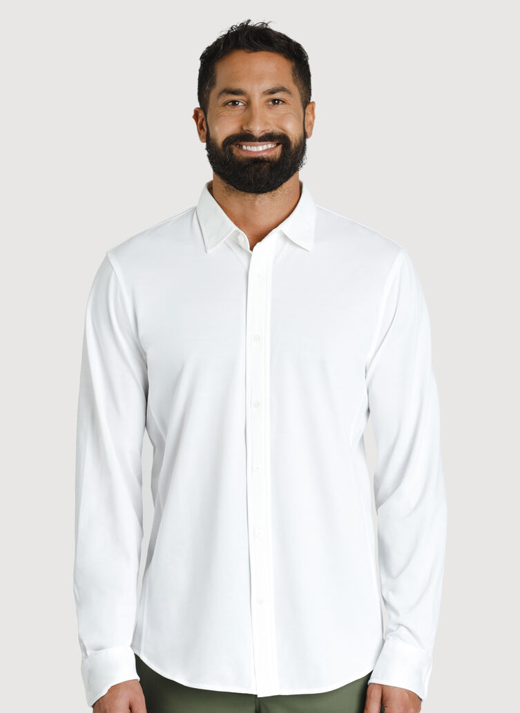 Court Stretch Long Sleeve, Bright White | Kit and Ace