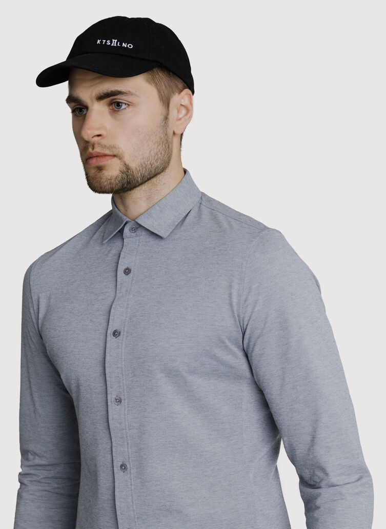 Court Stretch Long Sleeve Button Down, Grey Chambray | Kit and Ace