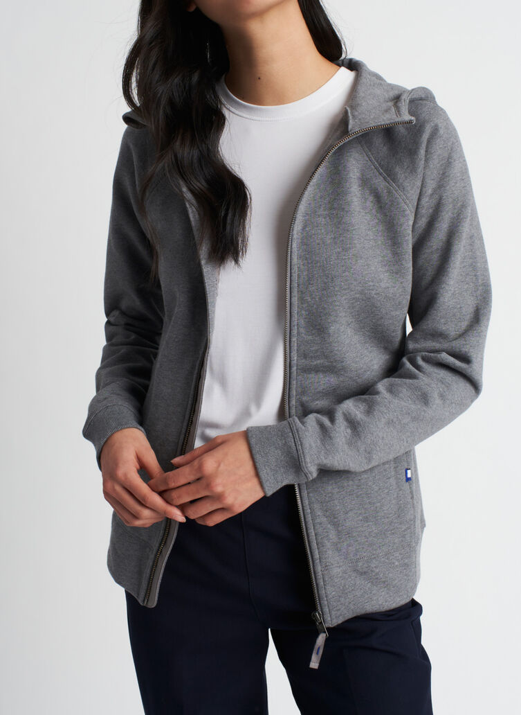 Coastal Zip Up Hoodie, Heather Grey | Kit and Ace
