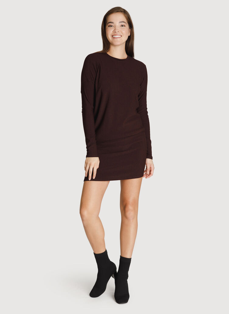 Brushed Wave Dress Long Sleeve, HTHR Plum | Kit and Ace