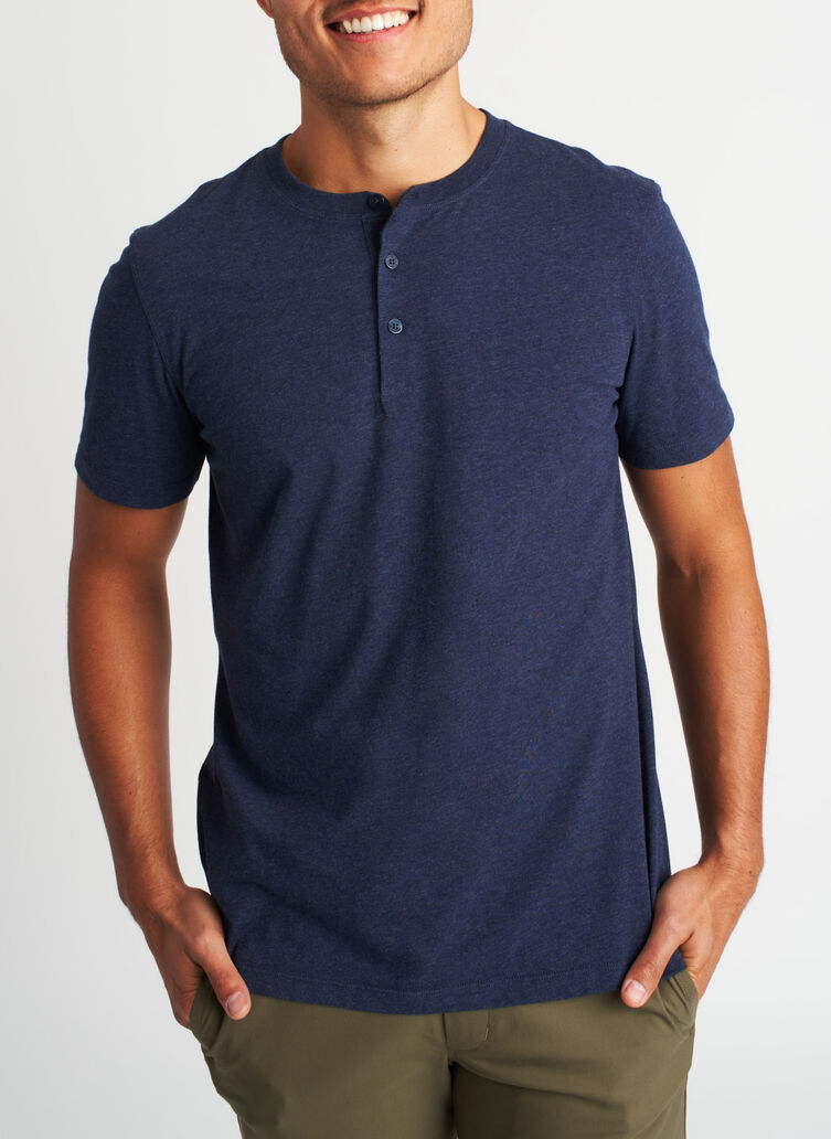 Ace Pima Henley Tee, Heather Deep Navy | Kit and Ace