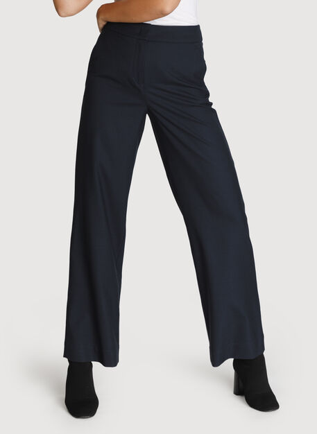 Wide Leg Stretch Trouser, DK Navy | Kit and Ace