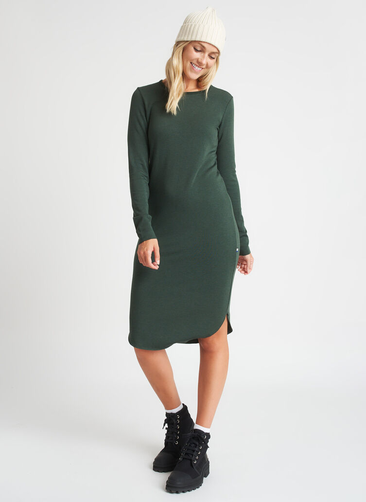 Good Feels Brushed Crewneck Dress, Heather Forest | Kit and Ace