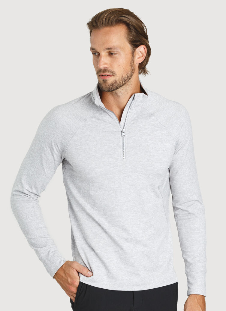 Side Storage Quarter Zip, HTHR Lt Grey | Kit and Ace