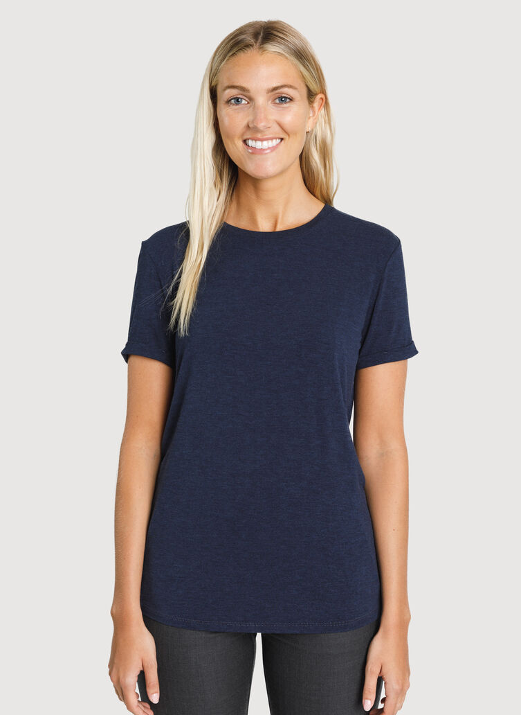 Kit Tech Jersey Crew Tee Relaxed Fit, HTHR DK Navy | Kit and Ace