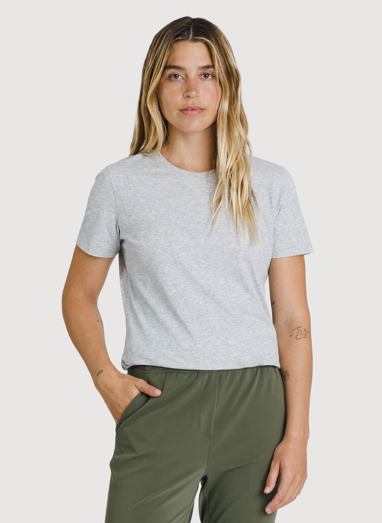 Kit Pima Crew Tee, Heather Metal | Kit and Ace