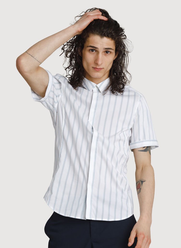 Stretch Woven Short Sleeve, BRIGHT WHITE/OCEAN STRIPE | Kit and Ace