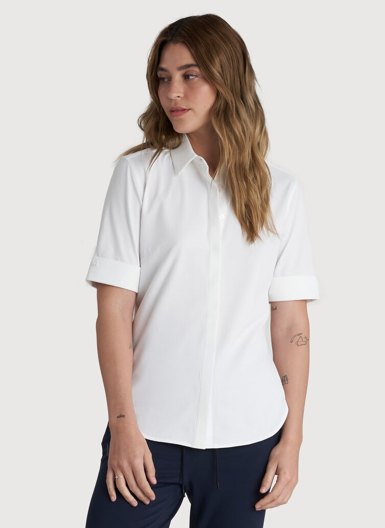 O.T.M. Short Sleeve Button Up Shirt, Bright White | Kit and Ace