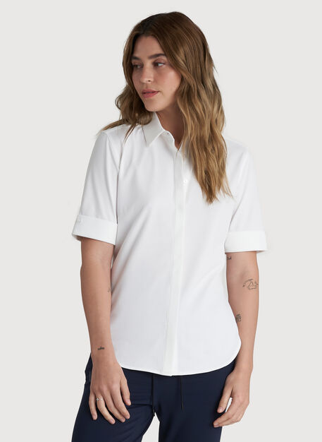 On the Move Short Sleeve Shirt, Bright White | Kit and Ace