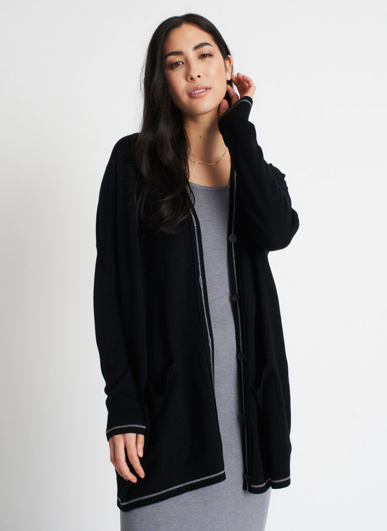 Travel On Merino Cardigan, BLACK/HTHR GREY | Kit and Ace