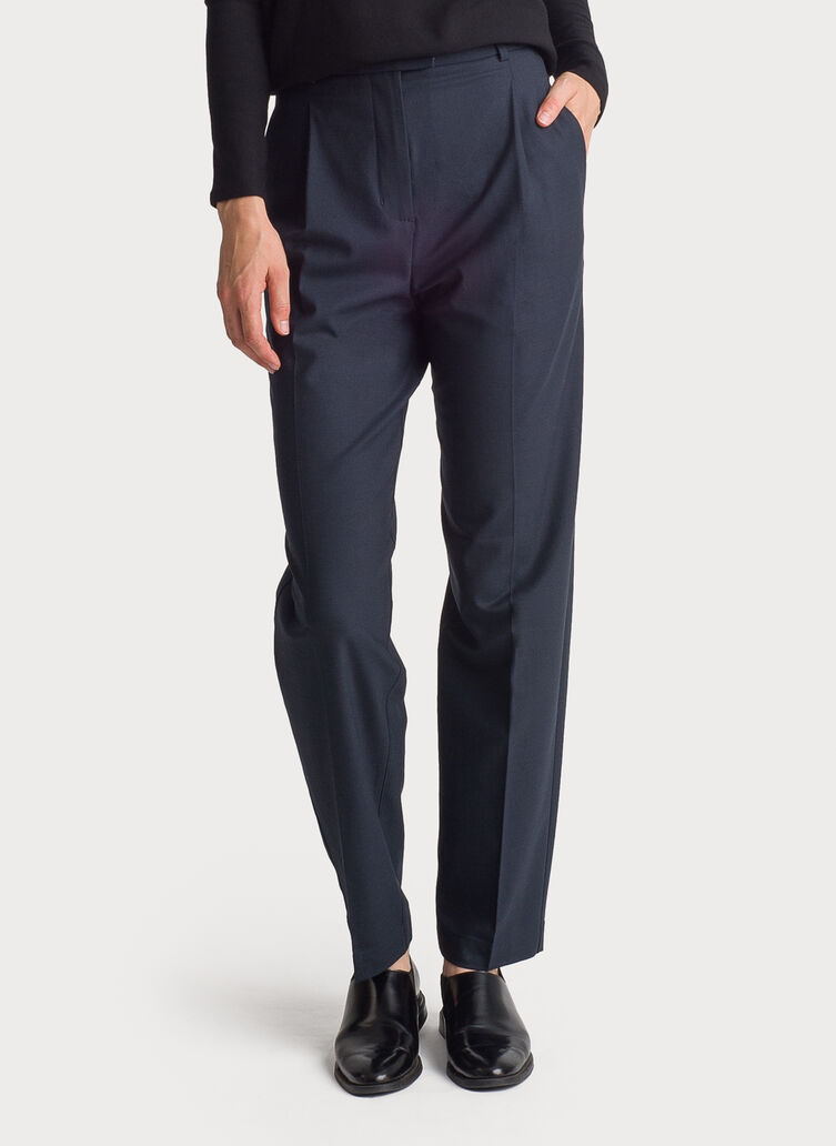 Stretch Suiting Pleated Trousers, Dark Navy | Kit and Ace