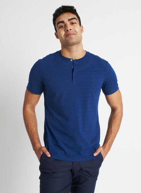 Ace Pima Henley Tee, Heather Deep Blue | Kit and Ace