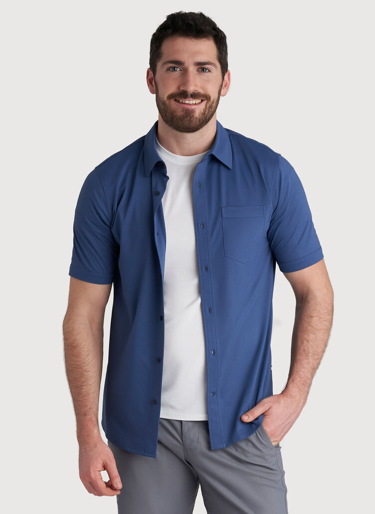 City Tech Classic Short Sleeve Shirt, Dark Denim | Kit and Ace