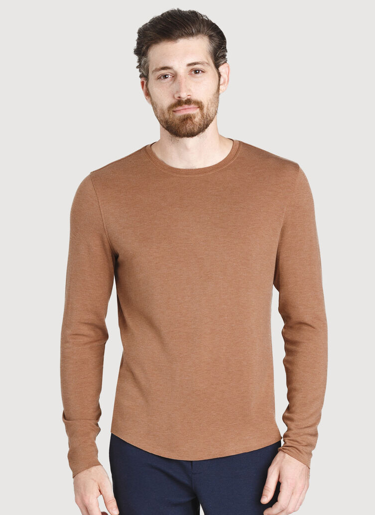 The B.F.T. Long Sleeve Crew, HTHR Toffee | Kit and Ace