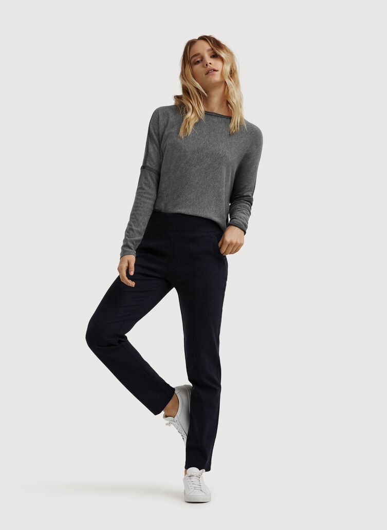 On Repeat Pintuck Trousers, Heather Dark Navy | Kit and Ace