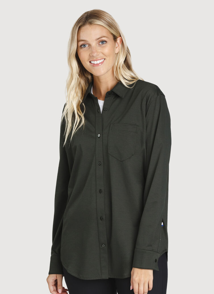 O.T.M. Boyfriend Button Up, Deep Forest | Kit and Ace