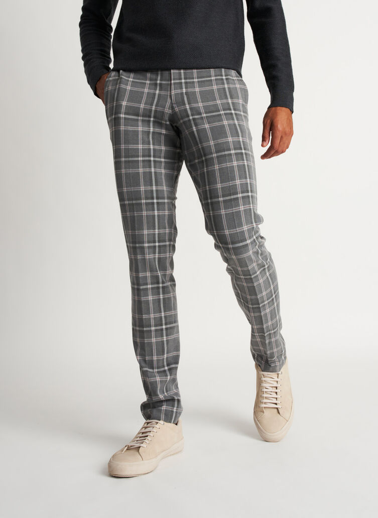 Recycled Suiting Trouser, PLAID Grey/Charcoal | Kit and Ace
