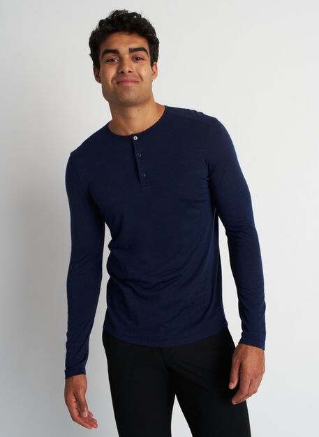 Merino Henley Tee, Heather Dark Navy | Kit and Ace