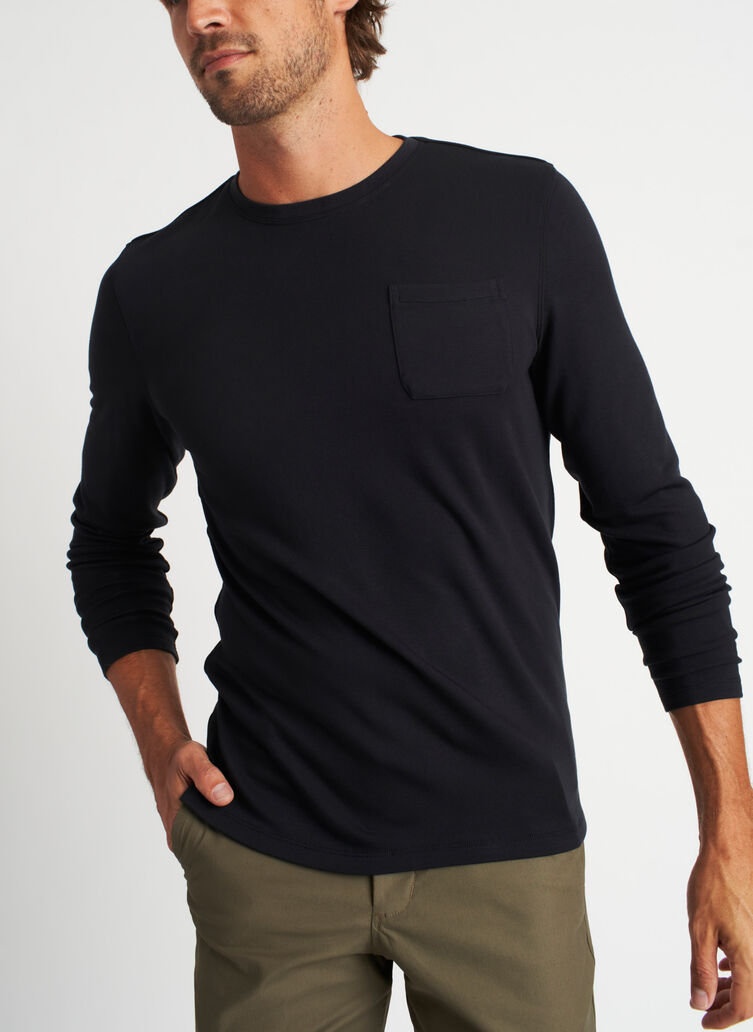 First Class Pocket Crewneck Tee, Black | Kit and Ace