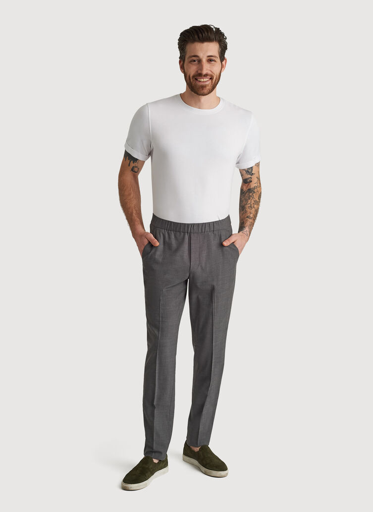Stretch Suiting Pull-On Pant, HTHR GREY | Kit and Ace