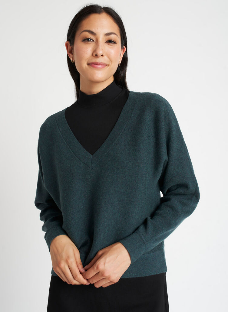 Back to Front Merino Wool Sweater, Heather Deep Pine | Kit and Ace