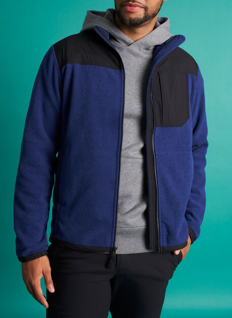 Snug Fleece Zip Up, Deep Blue/Black | Kit and Ace