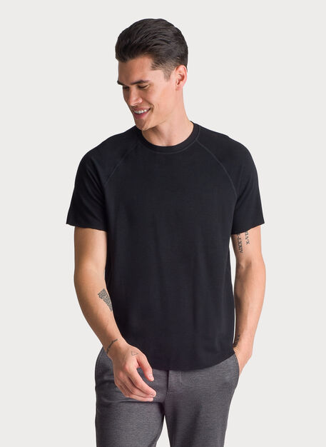 Edge Brushed Short Sleeve Crew, Black | Kit and Ace