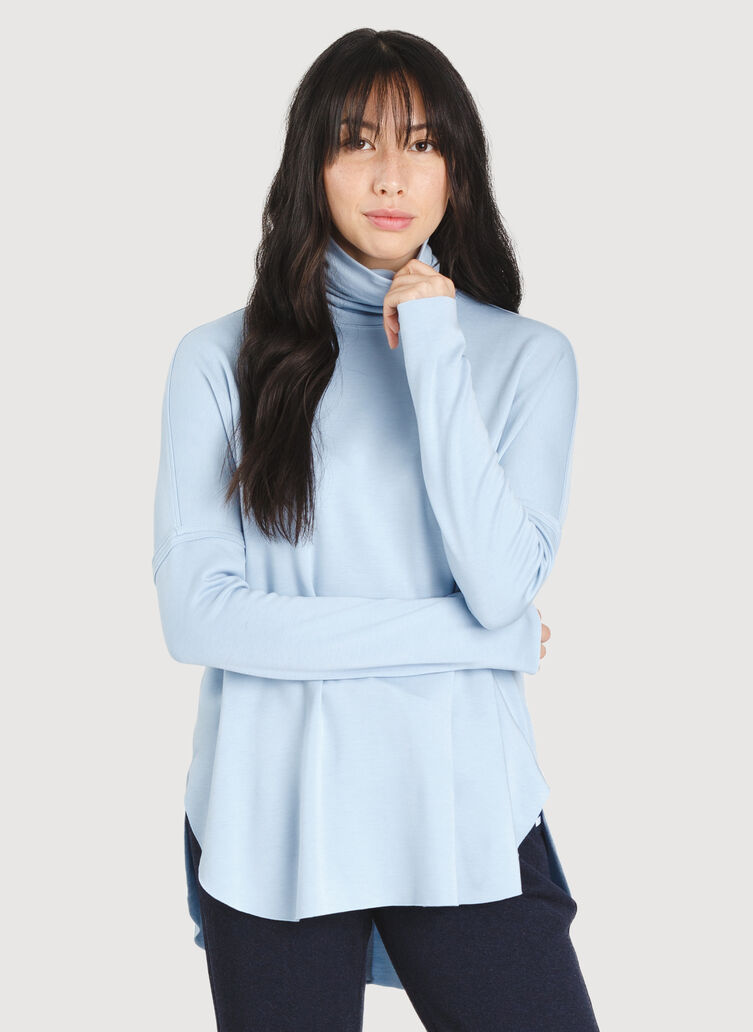 Burrow Turtleneck, Heather Celestial Blue | Kit and Ace