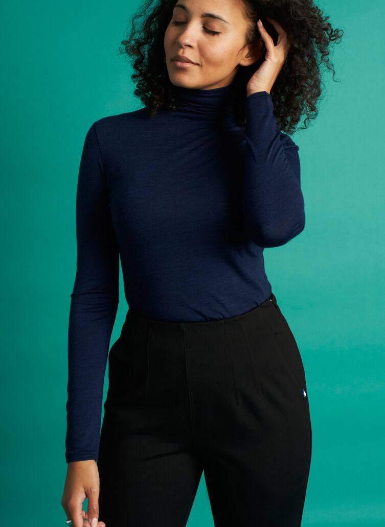 Effortless Merino Turtleneck, Heather Dark Navy | Kit and Ace