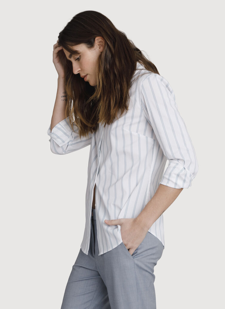Stretch Tailored Blouse, BRIGHT WHITE/OCEAN STRIPE | Kit and Ace