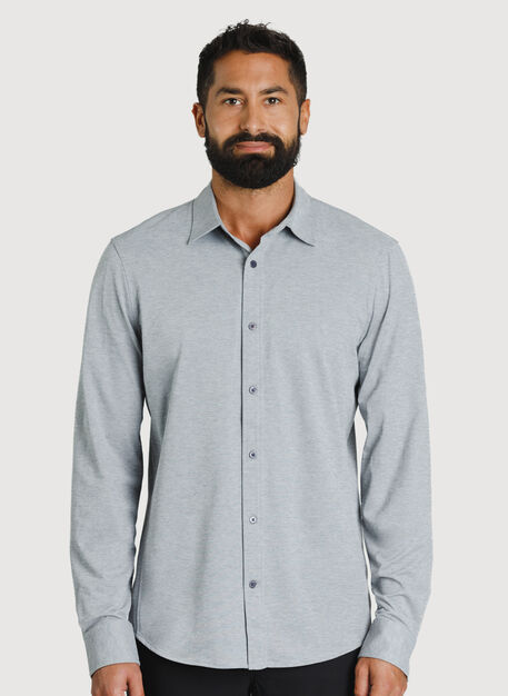 Court Stretch Long Sleeve, Grey Chambray | Kit and Ace