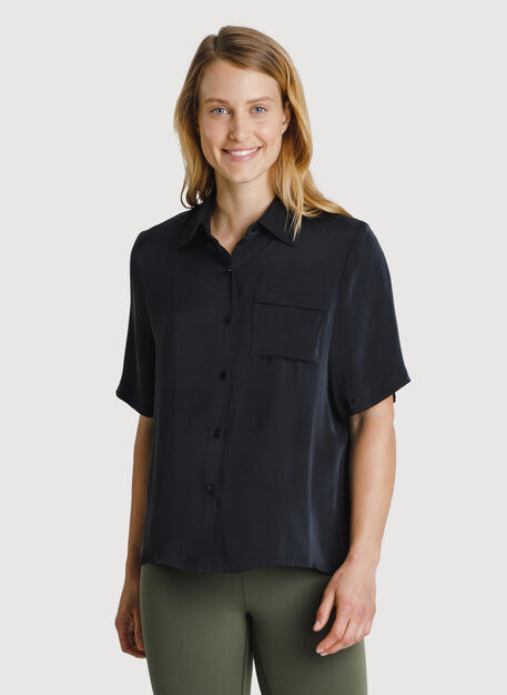 Bike to Office Silk Blouse, Black | Kit and Ace